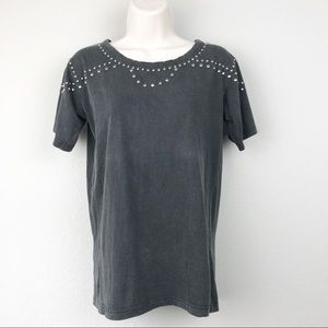 Isabel Marant Etoile Studded Washed Black T- Shirt